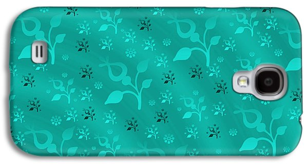 Blueish Galaxy S4 Cases - Turquoise floral mix Galaxy S4 Case by Gaspar Avila