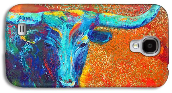 Chatham Paintings Galaxy S4 Cases - Turquoise Longhorn Galaxy S4 Case by Karen Kennedy Chatham