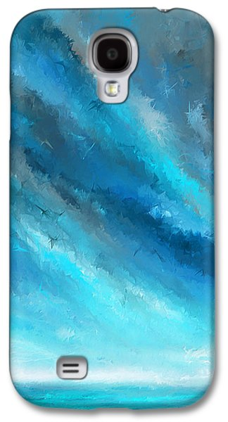 Blue Green Wave Galaxy S4 Cases - Turquoise Memories - Turquoise Abstract Art Galaxy S4 Case by Lourry Legarde