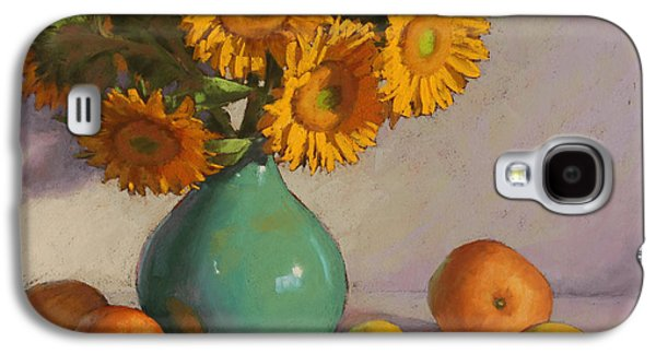 Still Life Pastels Galaxy S4 Cases - Turquoise Vase with Sunflowers Galaxy S4 Case by Sarah Blumenschein