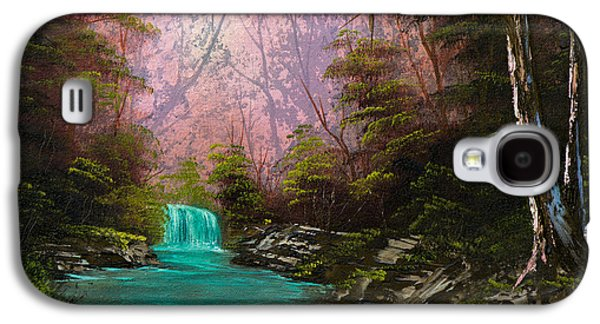 Sawtooth Mountain Paintings Galaxy S4 Cases - Turquoise Waterfall Galaxy S4 Case by C Steele