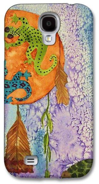 Shamanism Galaxy S4 Cases - Turtle Dreaming Lizard Galaxy S4 Case by Ellen Levinson