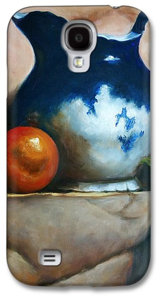 Old Pitcher Paintings Galaxy S4 Cases - Tuscan Blue Pitcher Still Life Galaxy S4 Case by Melinda Saminski