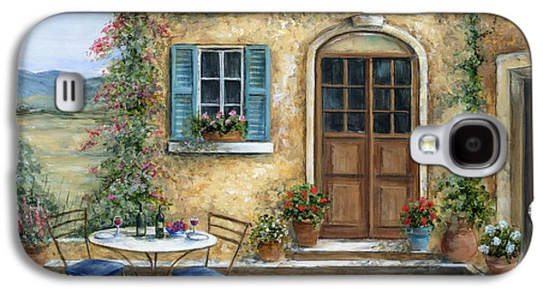 Table Wine Galaxy S4 Cases - Tuscan Courtyard With Cat Galaxy S4 Case by Marilyn Dunlap