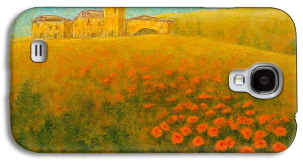 Tuscan Sunset Paintings Galaxy S4 Cases - Tuscan Gold 1 Galaxy S4 Case by Pamela Allegretto