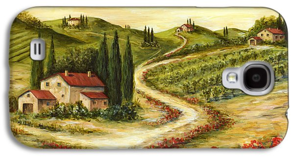 Tuscan Hills Galaxy S4 Cases - Tuscan road With Poppies Galaxy S4 Case by Marilyn Dunlap