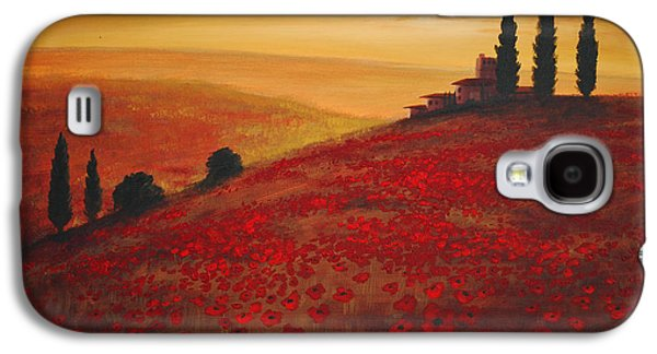 Tuscan Sunset Paintings Galaxy S4 Cases - Tuscan Sunset Galaxy S4 Case by Glenn Pollard