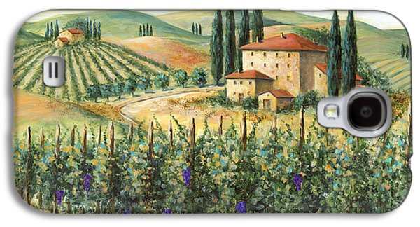Italian Wine Paintings Galaxy S4 Cases - Tuscan Vineyard and Villa Galaxy S4 Case by Marilyn Dunlap
