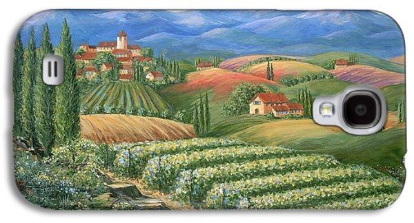 Vineyard Art Galaxy S4 Cases - Tuscan Vineyard and Village  Galaxy S4 Case by Marilyn Dunlap