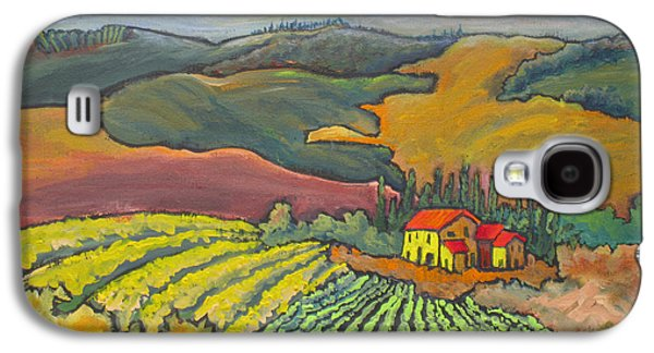 Italian Wine Paintings Galaxy S4 Cases - Tuscan Vineyard Galaxy S4 Case by Mohamed Hirji