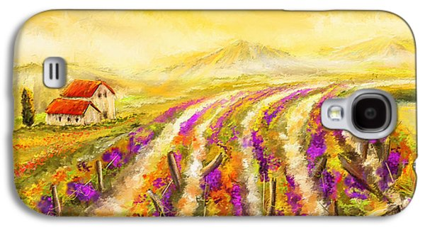 Grape Vineyard Galaxy S4 Cases - Tuscan Vineyard Sunset - Vineyard Impressionist Paintings Galaxy S4 Case by Lourry Legarde