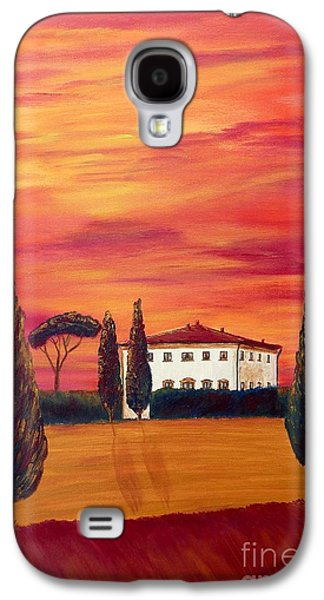 Tuscan Sunset Paintings Galaxy S4 Cases - Tuscany in red Galaxy S4 Case by Christine Huwer