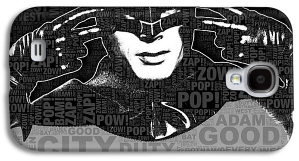 Character Portraits Mixed Media Galaxy S4 Cases - TV Batman Adam West and Quotes Galaxy S4 Case by Tony Rubino