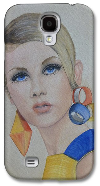 Twiggy Paintings Galaxy S4 Cases - Twiggy the 60s Fashion Icon Galaxy S4 Case by Kelly Mills