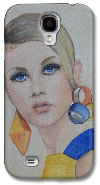 Twiggy Galaxy S4 Cases - Twiggy the 60s Fashion Icon Galaxy S4 Case by Kelly Mills