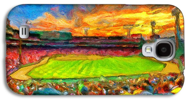 Red Sox Paintings Galaxy S4 Cases - Twilight Fenway Park Galaxy S4 Case by John Farr