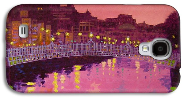 Building Framed Prints Galaxy S4 Cases - Twilight - Ha Penny Bridge Dublin Galaxy S4 Case by John  Nolan