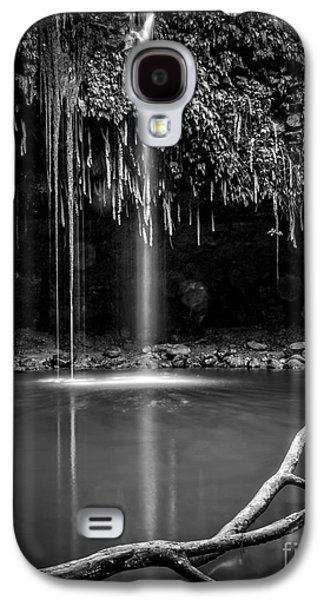 Hidden Galaxy S4 Cases - Twin Falls Hana Highway Maui Hawaii Black and White Galaxy S4 Case by Edward Fielding