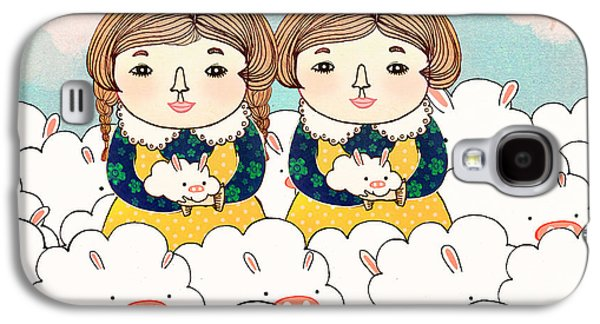 Adorable Digital Art Galaxy S4 Cases - Twins Galaxy S4 Case by Yoyo Zhao