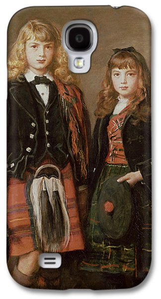 Child Photographs Galaxy S4 Cases - Two Bairns Oil On Canvas Galaxy S4 Case by Sir John Everett Millais