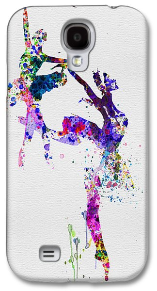 Young Mixed Media Galaxy S4 Cases - Two Ballerinas Dance Watercolor Galaxy S4 Case by Naxart Studio