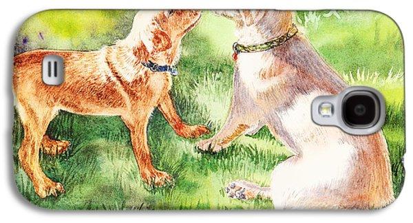 Puppies Galaxy S4 Cases - Two Brothers Labradors Galaxy S4 Case by Irina Sztukowski