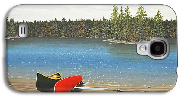 Canoe Paintings Galaxy S4 Cases - Two Canoes Galaxy S4 Case by Kenneth M  Kirsch