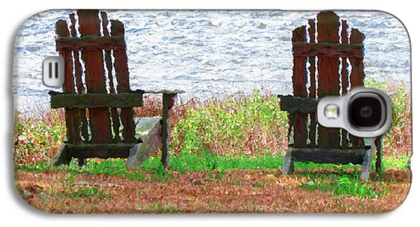 Empty Chairs Paintings Galaxy S4 Cases - Two Chairs Facing the Lake Galaxy S4 Case by Lanjee Chee