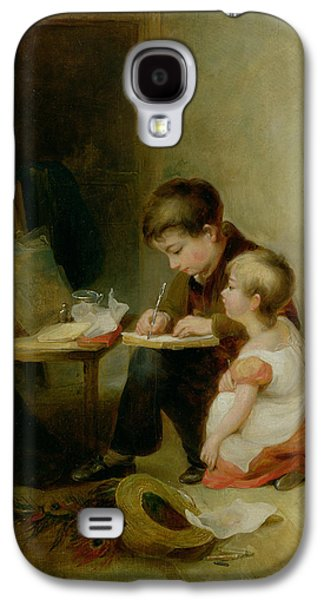 Victorian Photographs Galaxy S4 Cases - Two Children At Drawing Lessons Oil On Panel Galaxy S4 Case by John Frederick Pasmore