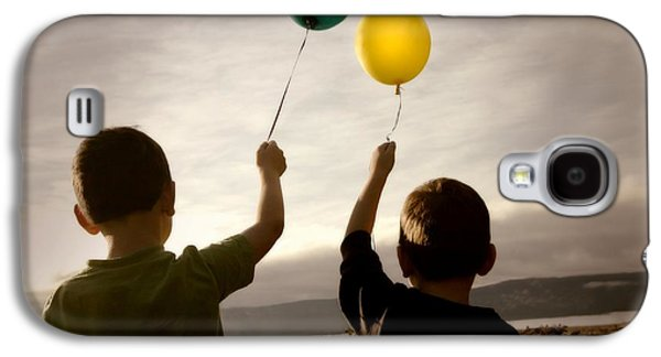 Freedom Party Galaxy S4 Cases - Two Children With Balloons Galaxy S4 Case by Con Tanasiuk