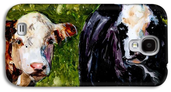 Farm Fields Paintings Galaxy S4 Cases - Two Cows Galaxy S4 Case by Molly Poole
