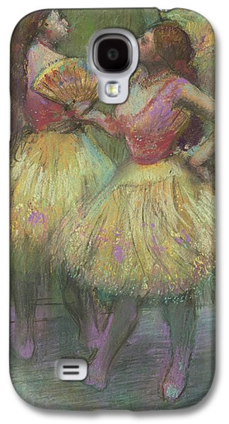 Ballet Dancers Pastels Galaxy S4 Cases - Two Dancers Before Going on Stage Galaxy S4 Case by Edgar Degas