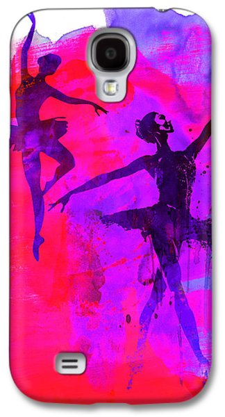 Young Mixed Media Galaxy S4 Cases - Two Dancing Ballerinas 3 Galaxy S4 Case by Naxart Studio