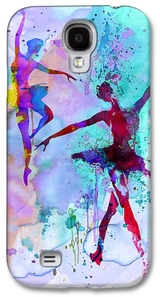 Young Mixed Media Galaxy S4 Cases - Two Dancing Ballerinas Watercolor 2 Galaxy S4 Case by Naxart Studio