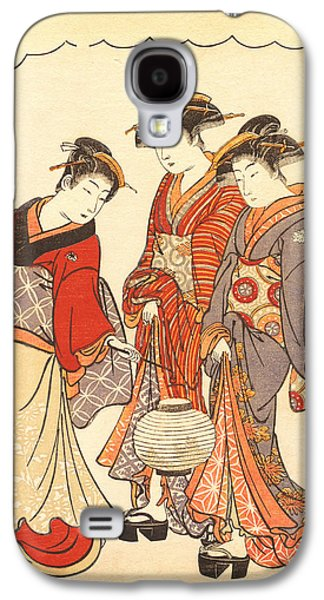 Two Colors Paintings Galaxy S4 Cases - Two Geisha Preceded by a Maid Carrying a Lantern Galaxy S4 Case by Torii Kiyonaga