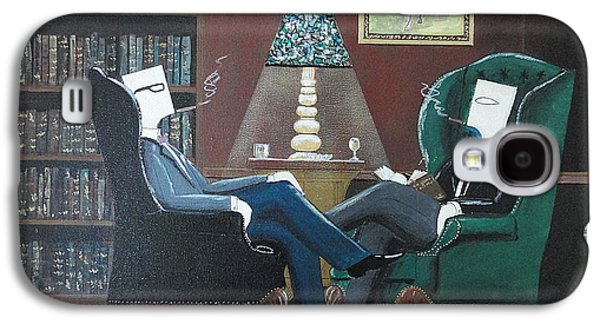 Two Gentlemen Sitting In Wingback Chairs At Private Club Galaxy S4 Case by John Lyes