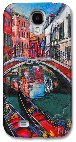 Chimneys Galaxy S4 Cases - Two Gondolas In Venice Galaxy S4 Case by Mona Edulesco