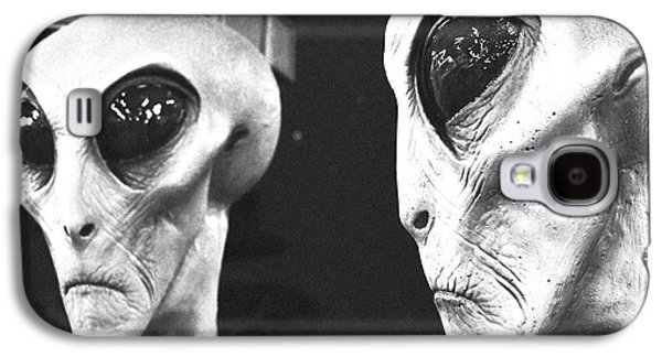 Creepy Galaxy S4 Cases - Two Grey Aliens Science Fiction Square Format Black and White Film Grain Digital Art Galaxy S4 Case by Shawn O