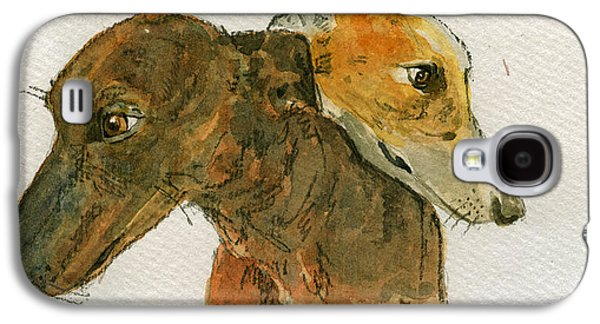 Animals Love Galaxy S4 Cases - Two greyhounds Galaxy S4 Case by Juan  Bosco