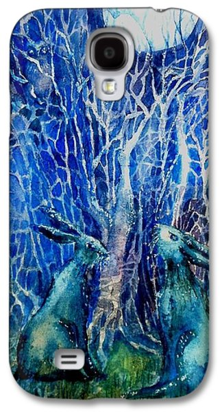 Samhain Paintings Galaxy S4 Cases - Two Hares Contemplate an Owl by Moonlight     Galaxy S4 Case by Trudi Doyle