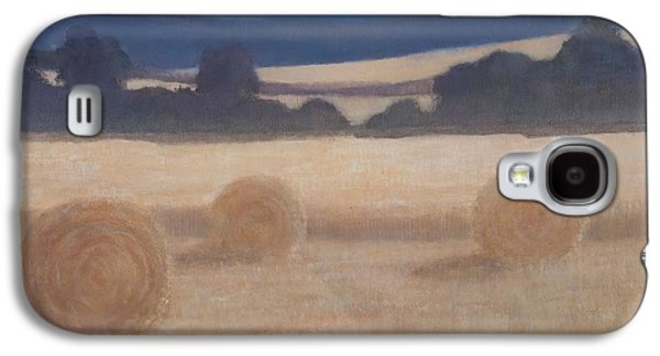 Hay Bales Galaxy S4 Cases - Two Hay Bales, 2012 Acrylic On Canvas Galaxy S4 Case by Lincoln Seligman