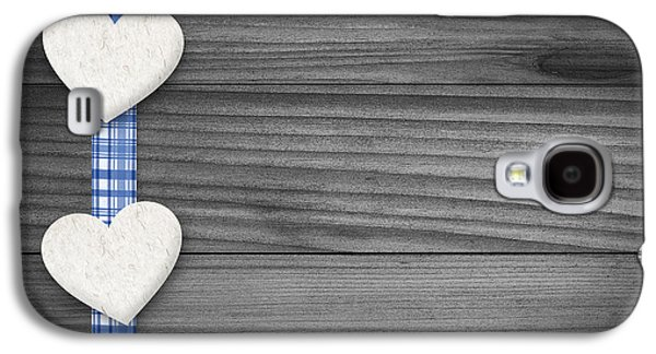 Textured Drawings Galaxy S4 Cases - Two hearts laying on wood Galaxy S4 Case by Aged Pixel