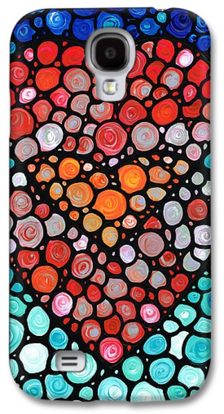 Colorful Abstract Galaxy S4 Cases - Two Hearts - Mosaic Art By Sharon Cummings Galaxy S4 Case by Sharon Cummings