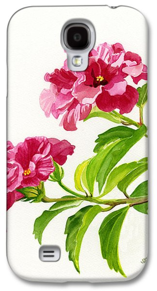 Close Up Paintings Galaxy S4 Cases - Two Hibiscus Rosa Sinensis Blossoms Galaxy S4 Case by Sharon Freeman