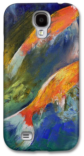 Two Colors Paintings Galaxy S4 Cases - Two Koi Fish Galaxy S4 Case by Michael Creese