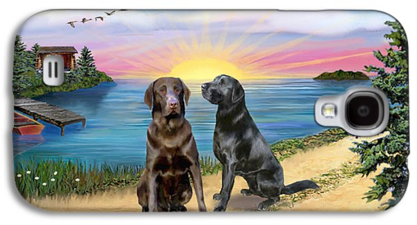 Chocolate Lab Digital Art Galaxy S4 Cases - Two Labs at the Lake Galaxy S4 Case by Jean B Fitzgerald