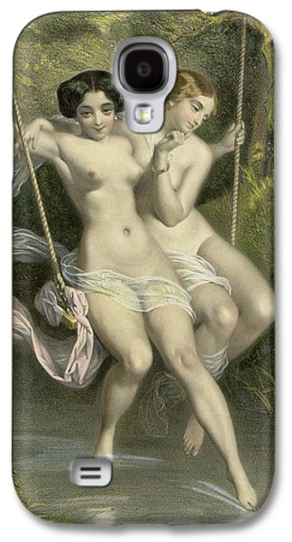 Nudes Drawings Galaxy S4 Cases - Two Ladies On A Swing Galaxy S4 Case by Charles Bargue