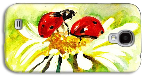 Ladybug Galaxy S4 Cases - Two Ladybugs in Daisy after my original watercolor Galaxy S4 Case by Tiberiu Soos