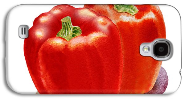 Pepper Paintings Galaxy S4 Cases - Two Red Peppers Galaxy S4 Case by Irina Sztukowski