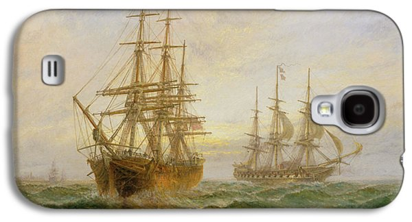 Frigates Paintings Galaxy S4 Cases - Two Ships Passing At Sunset Galaxy S4 Case by Claude T Stanfield Moore